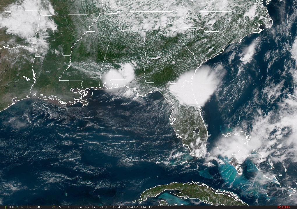 latest GeoColor image for Tropical Storm Alberto