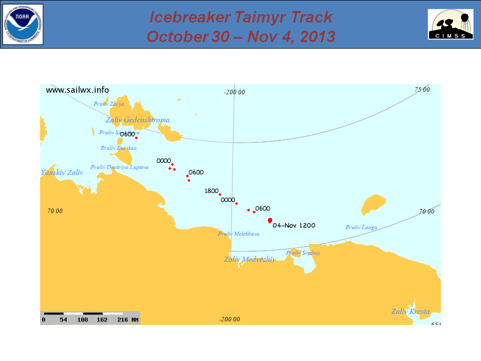 Plot of the track of the Russian icebreaker Taimyr, 30 October to 4 November 2013