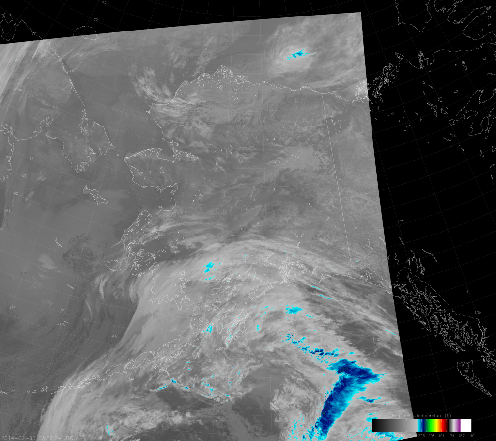 VIIRS IR image (I-5), taken at 23:29 UTC 3 February 2014