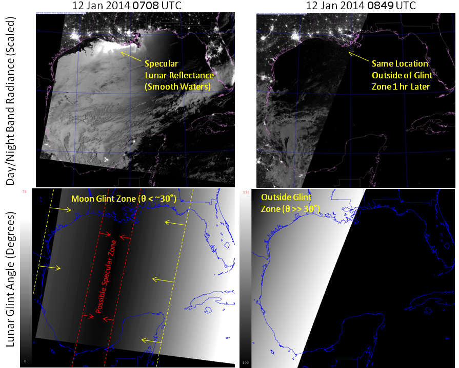 Comparison between DNB images and lunar glint angle for consecutive VIIRS overpasses on 12 January 2014