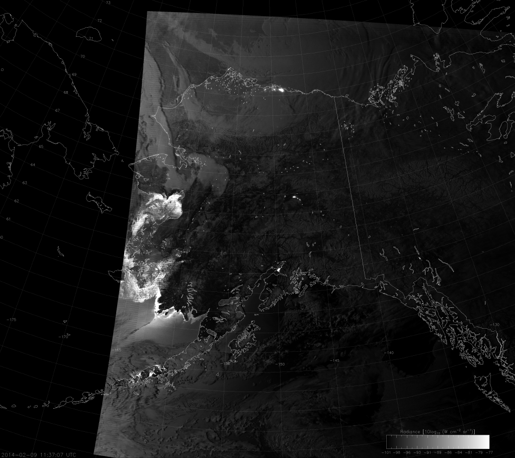 VIIRS Day/Night Band image, taken 11:37 UTC 9 February 2014