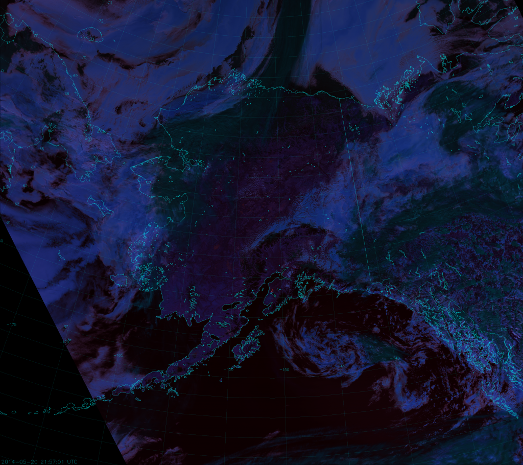 "VIIRS ""Fire Temperature"" composite, taken 21:58 UTC 20 May 2014"
