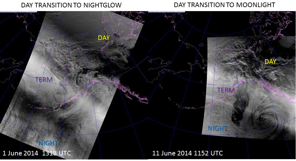 VIIRS DNB images from 1 June 2014 and 14 June 2014 spanning the terminator