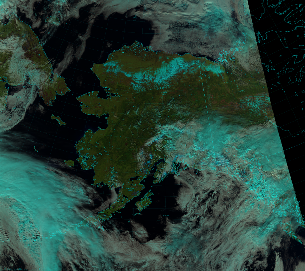 VIIRS Natural Color RGB composite of channels I-1, I-2 and I-3, taken 22:56 UTC 6 September 2014