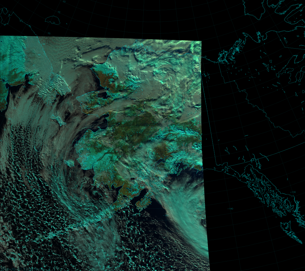 VIIRS Natural Color RGB composite of channels I-1, I-2, and I-3, taken 23:59 UTC 21 October 2014