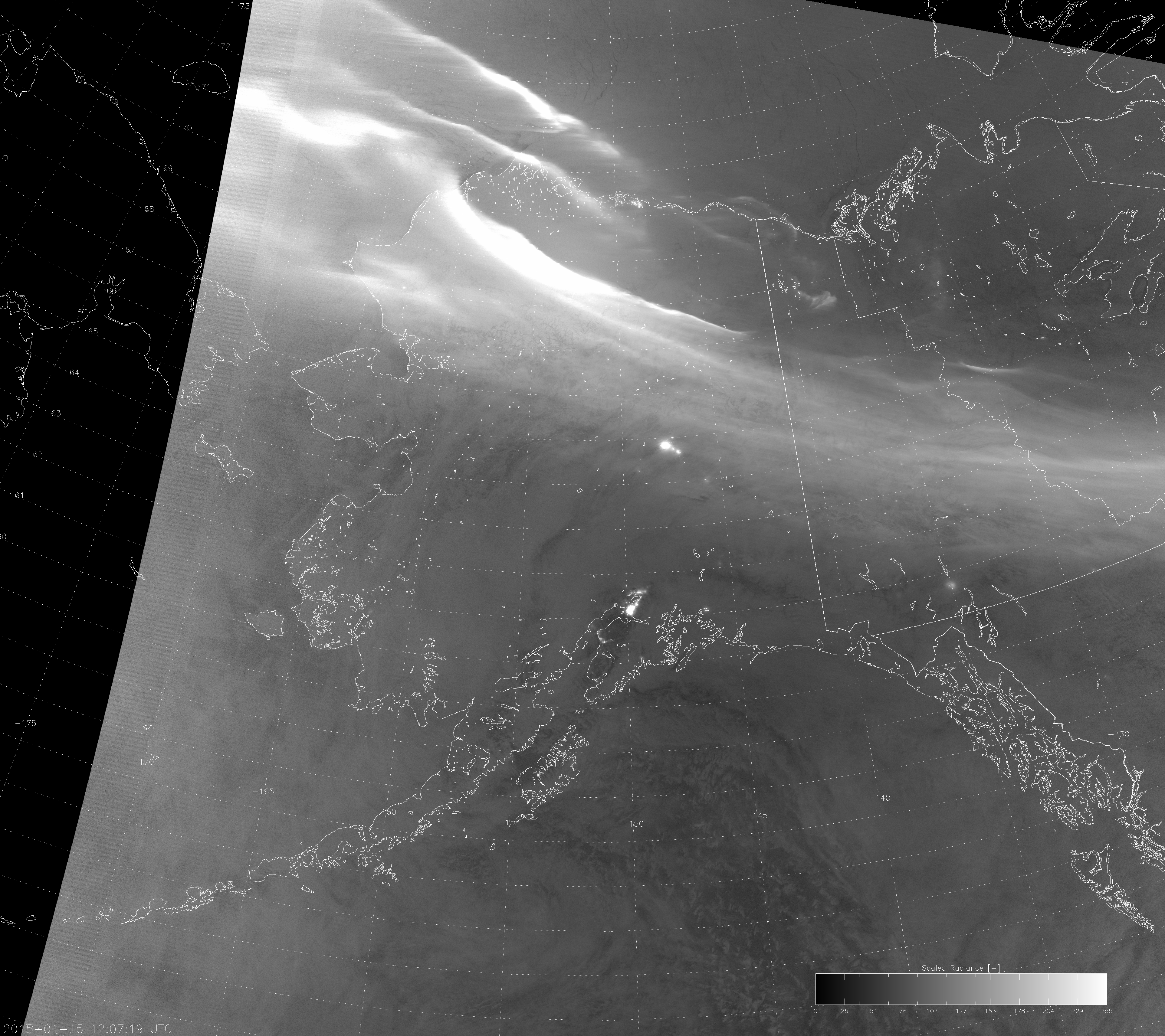 """VIIRS DNB image with modified """"erf-dynamic scaling"""" (12:07 UTC 15 January 2015)"""
