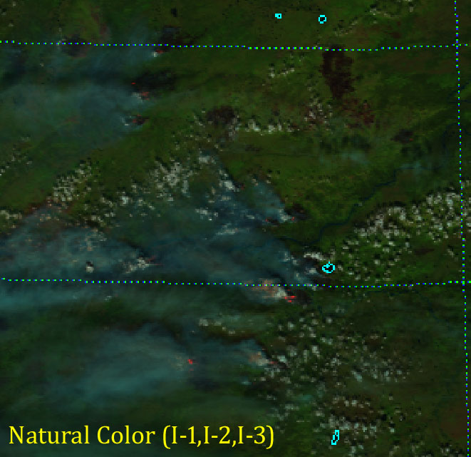 VIIRS Natural Color RGB composite of channels I-1, I-2 and I-3 (22:09 UTC 4 July 2015)