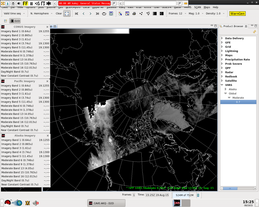 Example NCC image (12:39 UTC 19 August 2015) displayed in AWIPS II