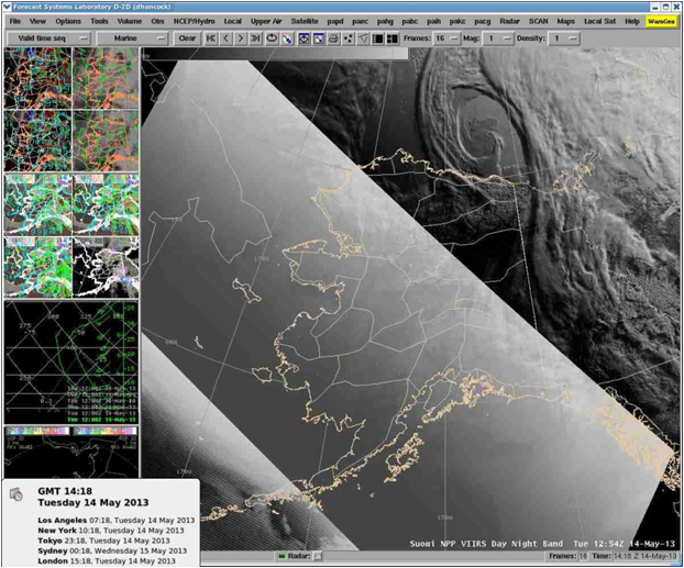 Example VIIRS DNB image displayed in AWIPS using the Histogram Equalization method