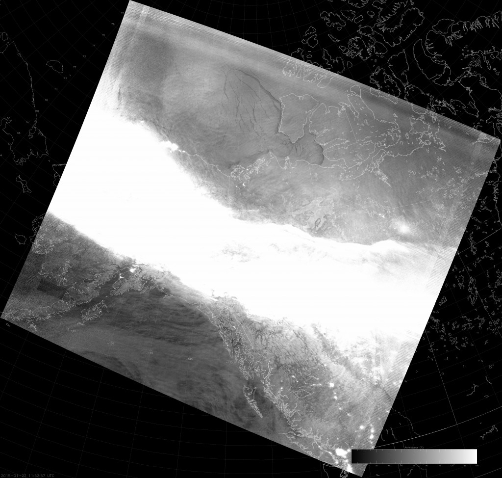 Example VIIRS NCC image (11:32 UTC 22 January 2015) scaled from 0 to 1.5