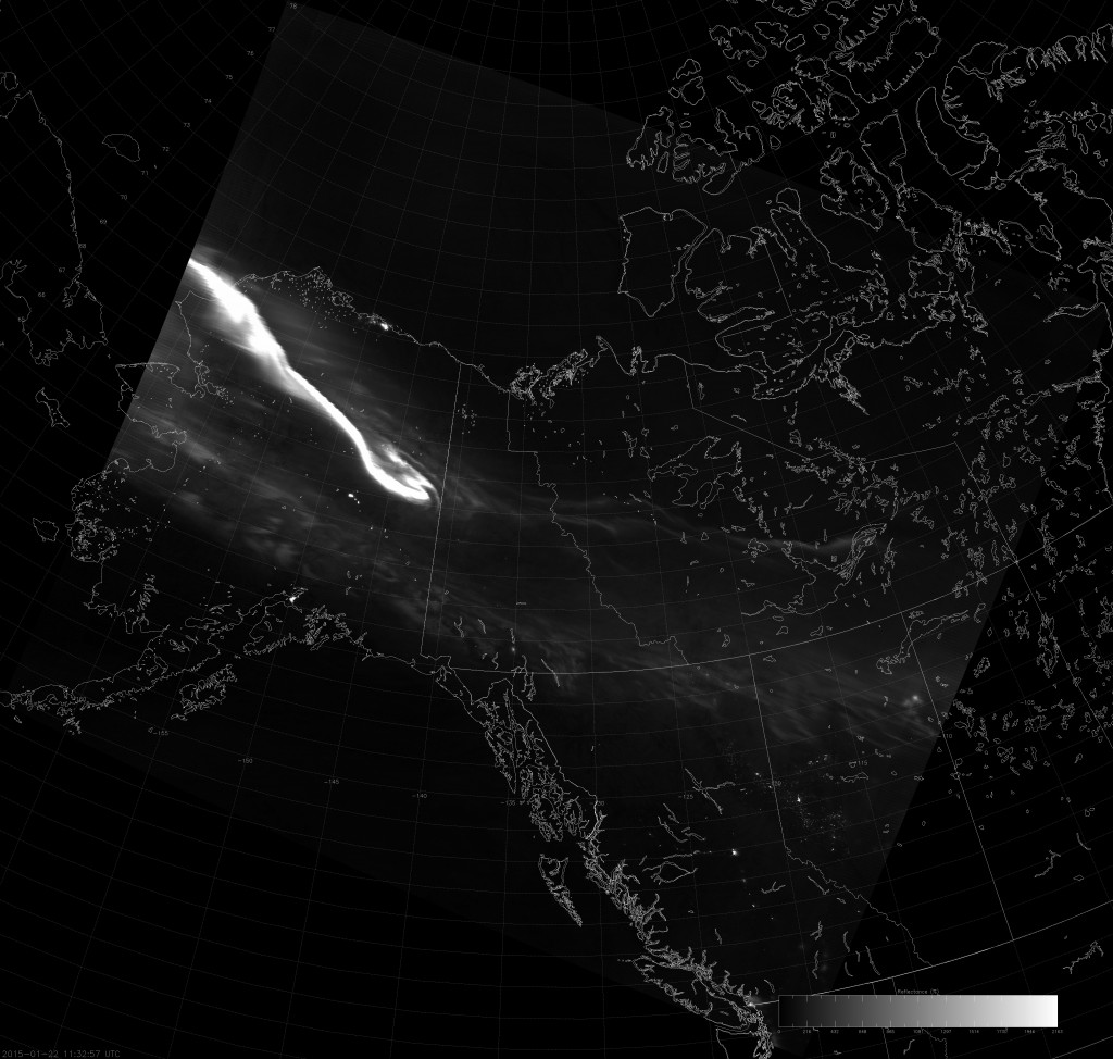 Example VIIRS NCC image (11:32 UTC 22 January 2015) scaled from 0 to 21