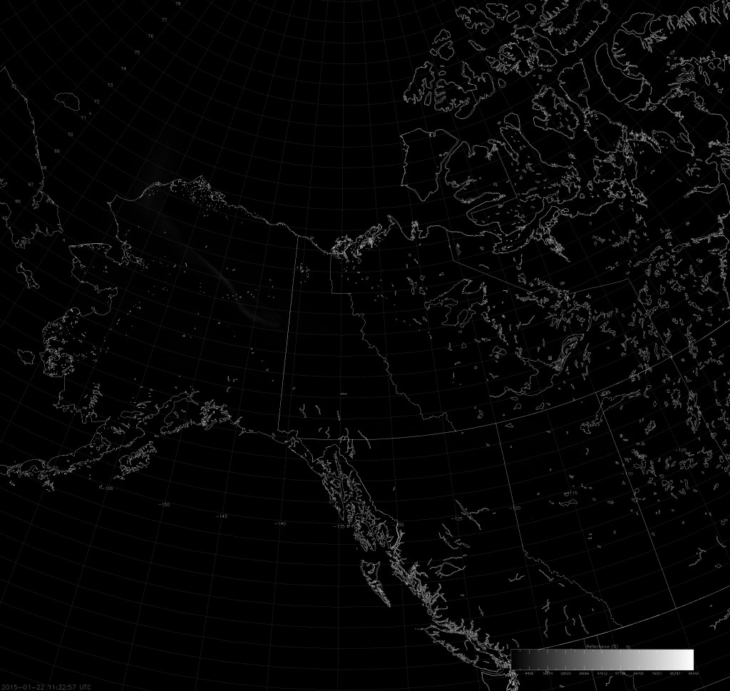 Example VIIRS NCC image (11:32 UTC 22 January 2015) scaled from -10 to 1000