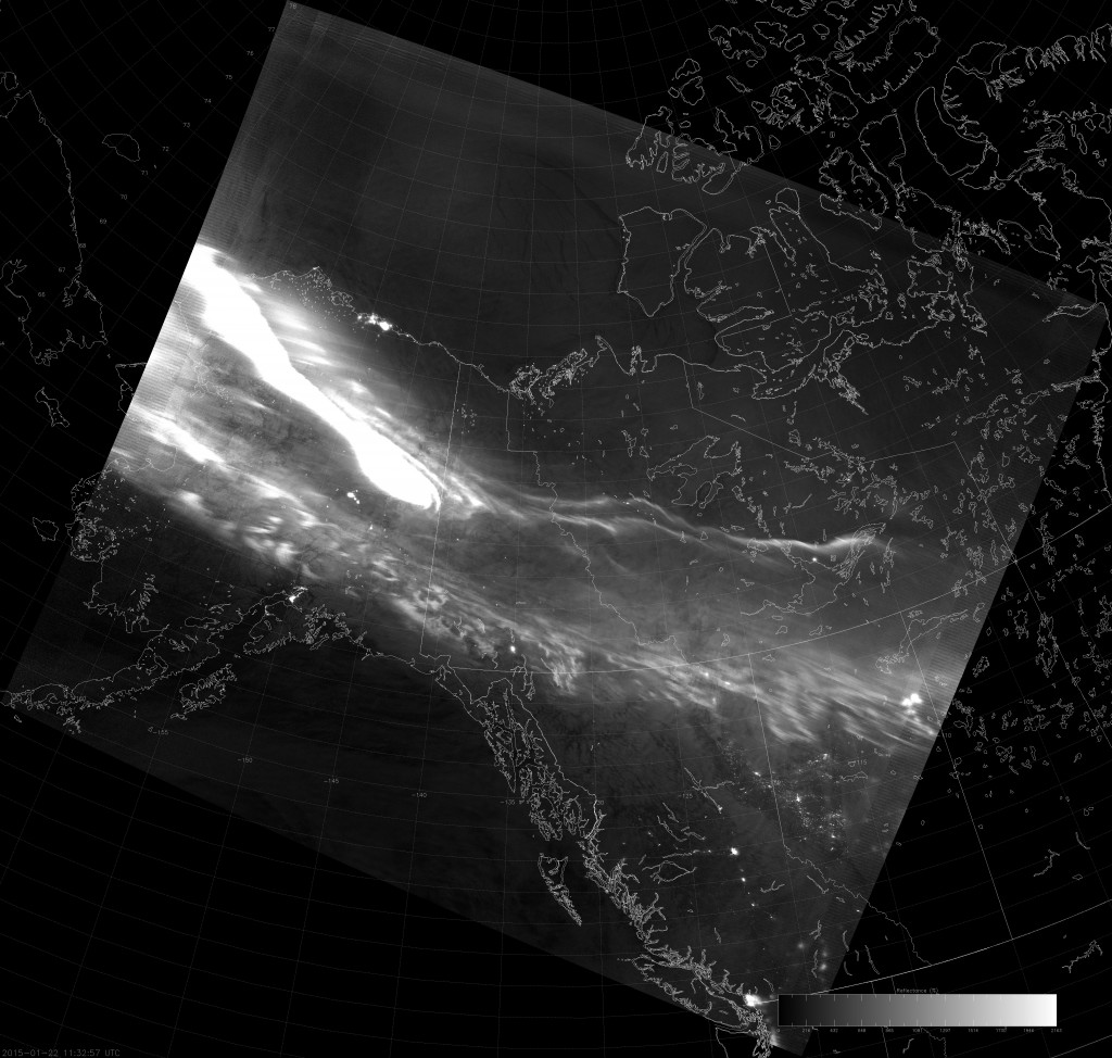 Example VIIRS NCC image (11:32 UTC 22 January 2015) scaled with Auto Contrast