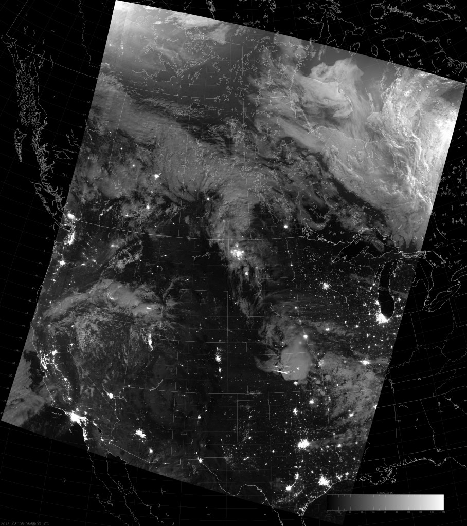 Example VIIRS NCC image (08:55 UTC 5 August 2015) scaled between 0 and 1.5