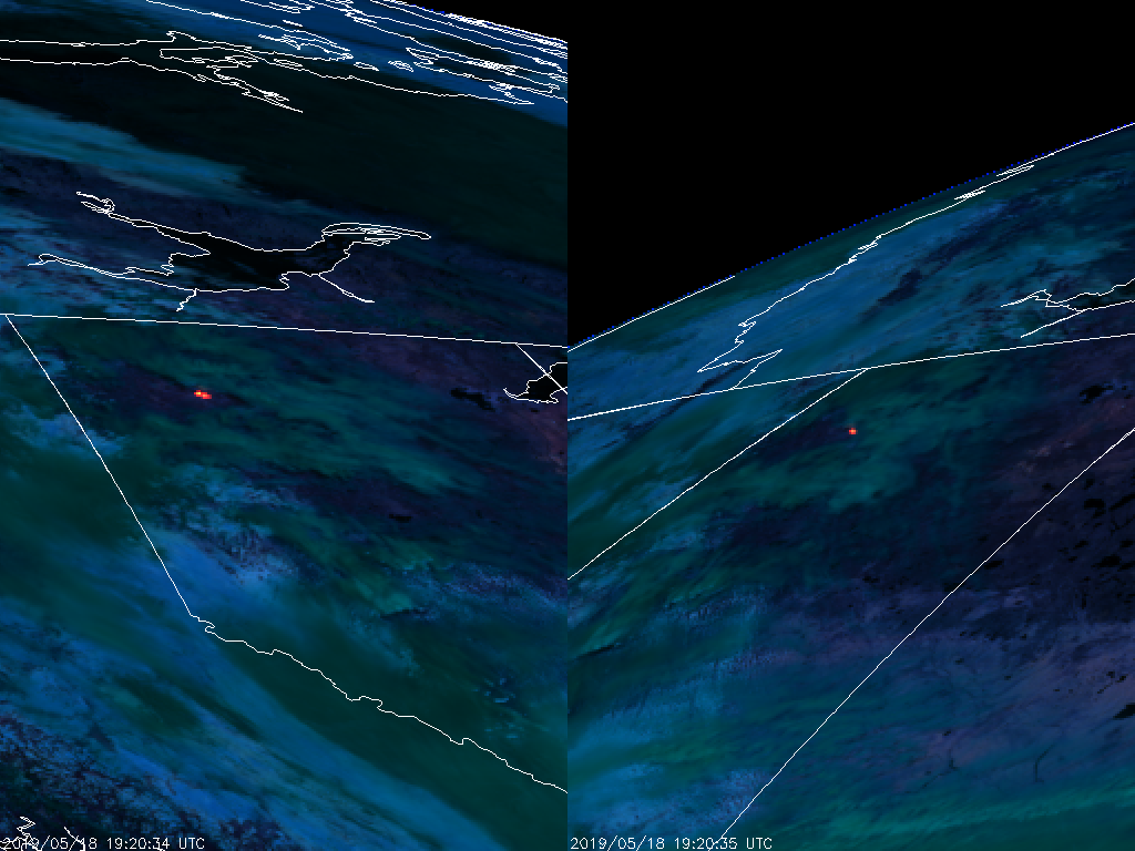 GOES-17 (left) and GOES-16 (right) Fire Temperature RGB (1920 UTC 18 May 2019)