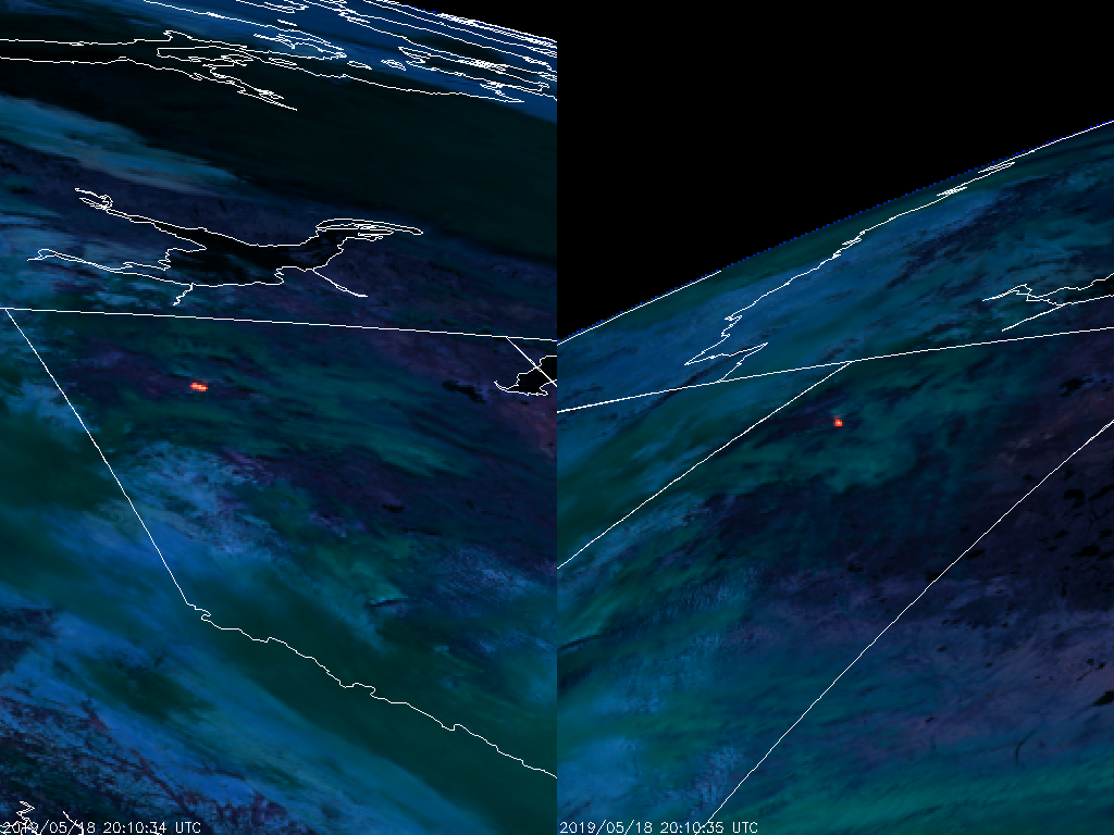 GOES-17 (left) and GOES-16 (right) Fire Temperature RGB (2010 UTC 18 May 2019)