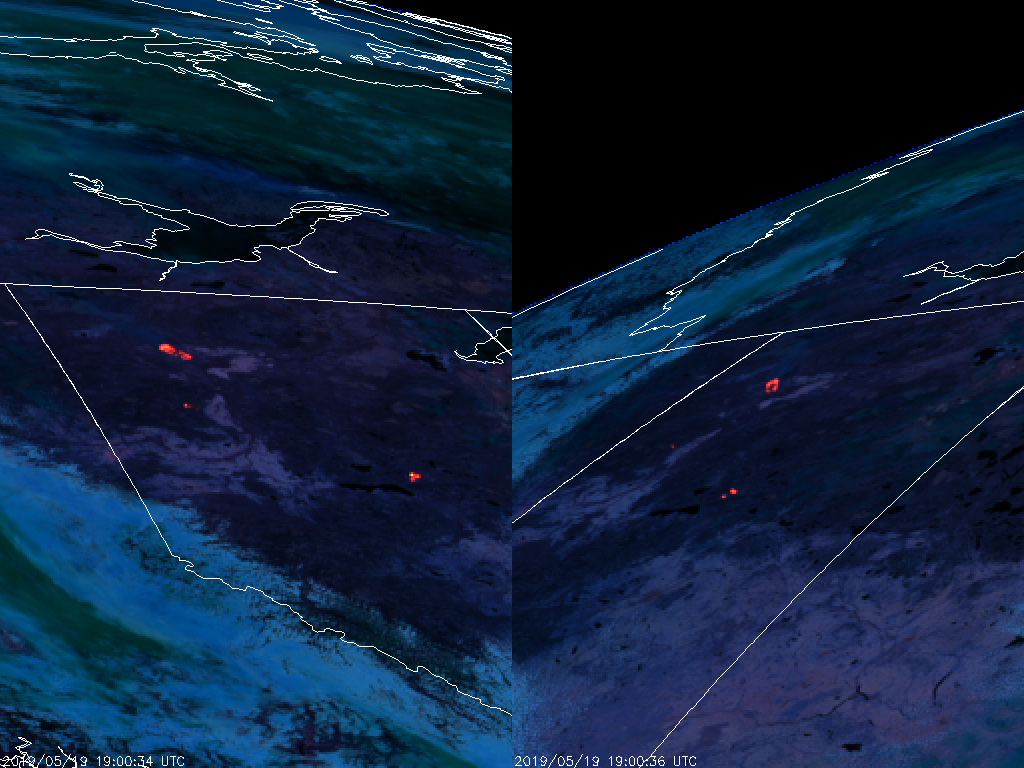 GOES-17 (left) and GOES-16 (right) Fire Temperature RGB (1900 UTC, 19 May 2019)