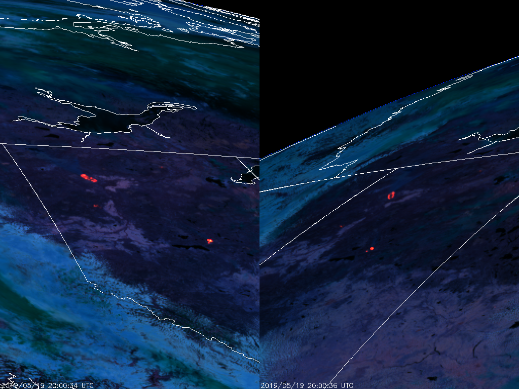 GOES-17 (left) and GOES-16 (right) Fire Temperature RGB (2000 UTC, 19 May 2019)