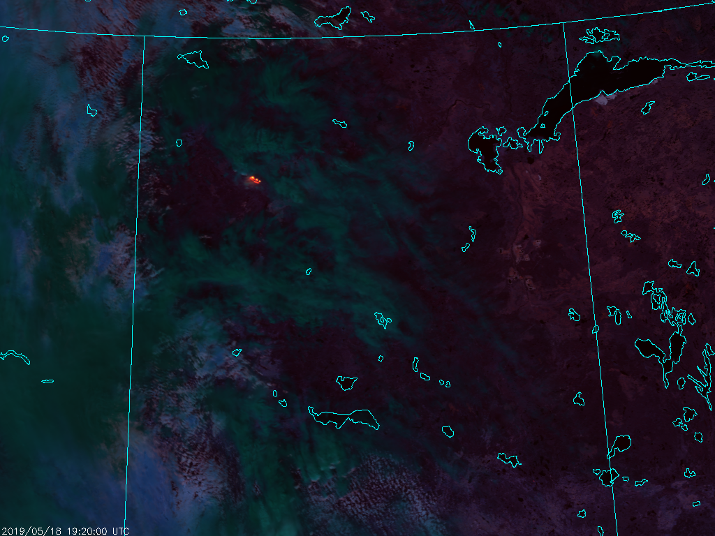 NOAA-20 VIIRS Fire Temperature RGB (1920 UTC, 18 May 2019)