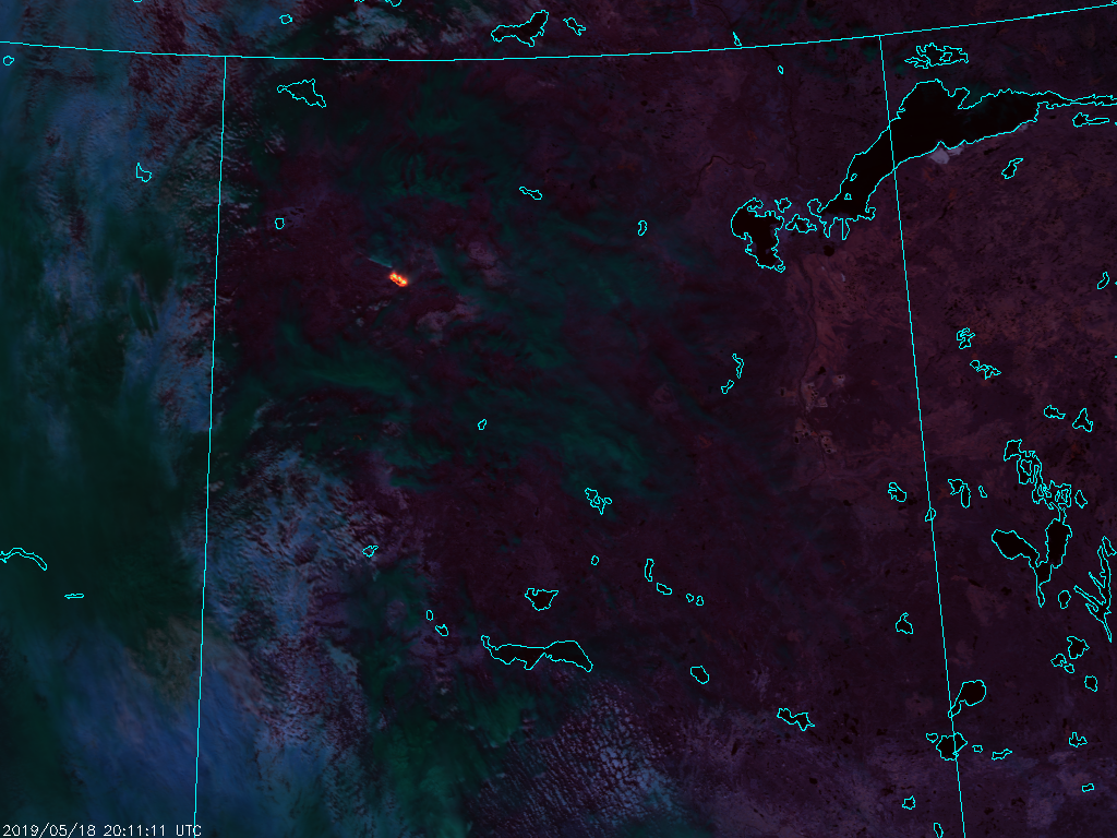 S-NPP VIIRS Fire Temperature RGB (2011 UTC, 18 May 2019)