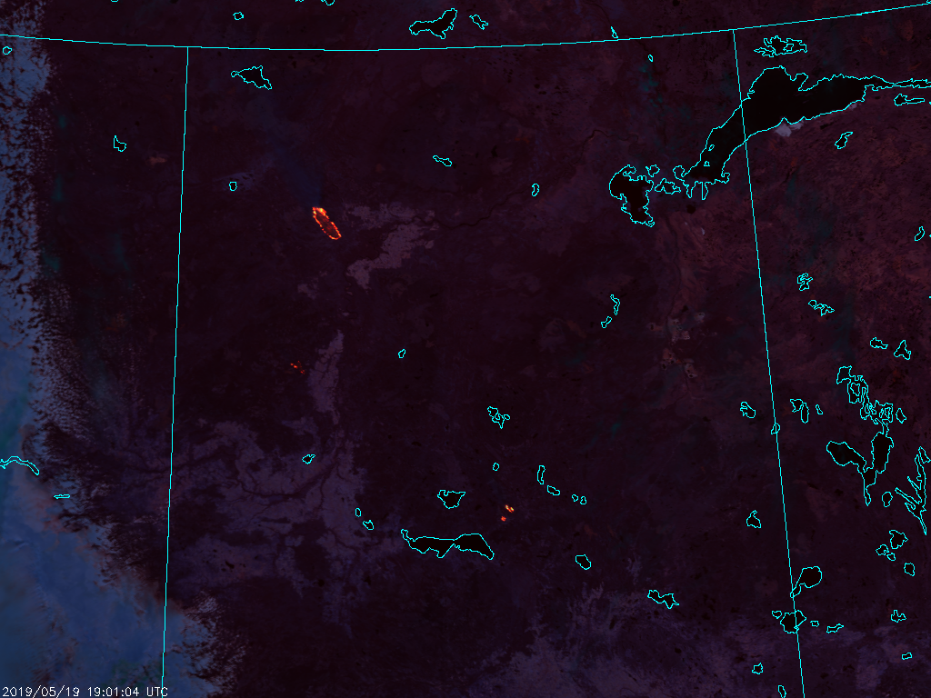 NOAA-20 VIIRS Fire Temperature RGB (1901 UTC, 19 May 2019)