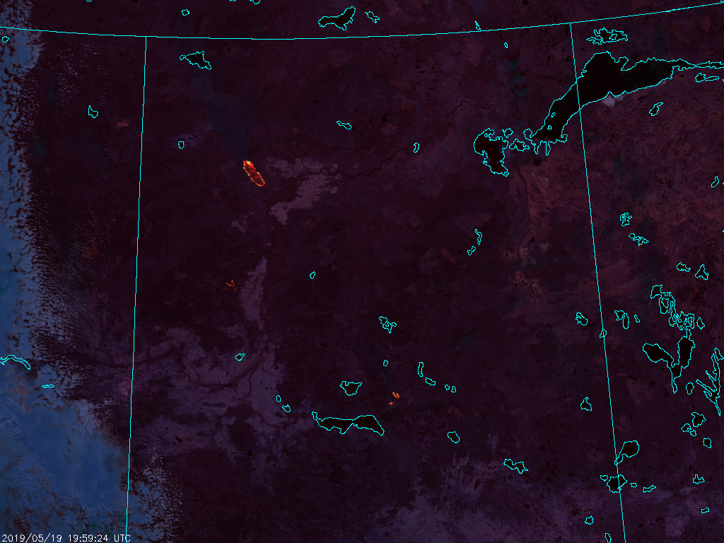S-NPP VIIRS Fire Temperature RGB (1959 UTC, 19 May 2019)