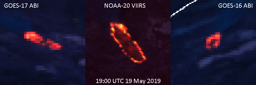 Comparison between GOES-17 ABI, NOAA-20 VIIRS, and GOES-16 ABI Fire Temperature RGB images (1900 UTC, 19 May 2019) zoomed in at 400%