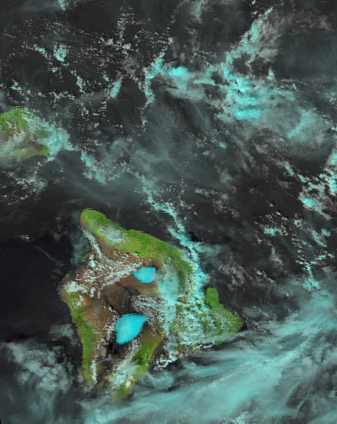 A false color image of the island of Hawaii taken from VIIRS at 23:16 UTC, 19 February 2012