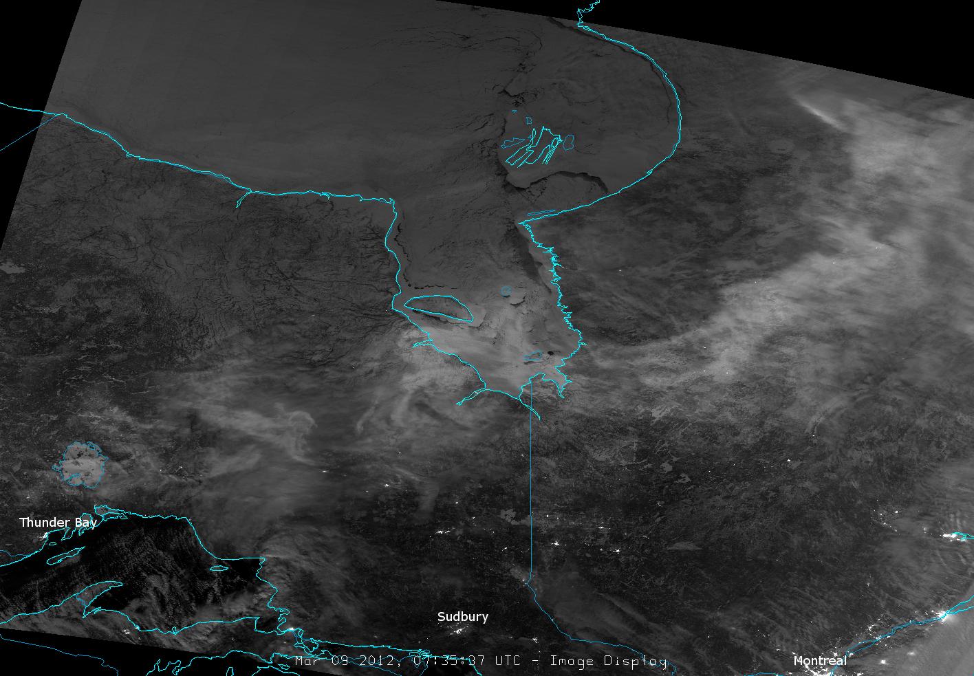 VIIRS DNB image taken at 7:35 UTC, 9 March 2012