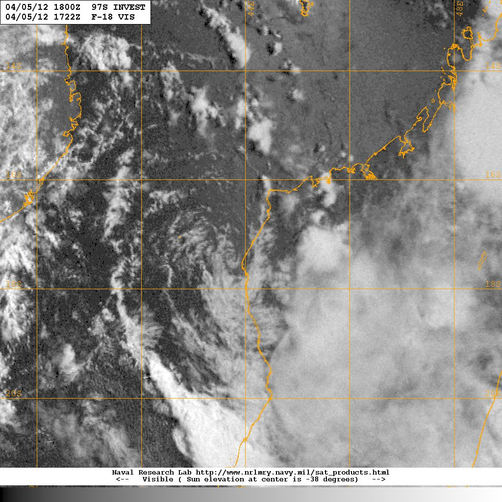 DMSP OLS low-light visible image of Invest 97S, taken at 17:22 UTC, 5 April 2012