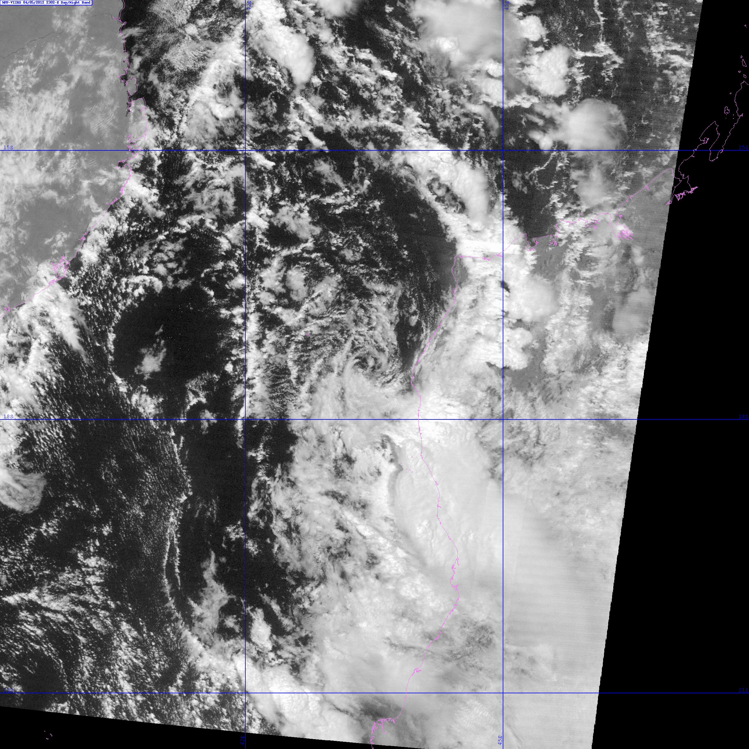 VIIRS DNB image of Invest 97S taken at 23:02 UTC, 5 April 2012
