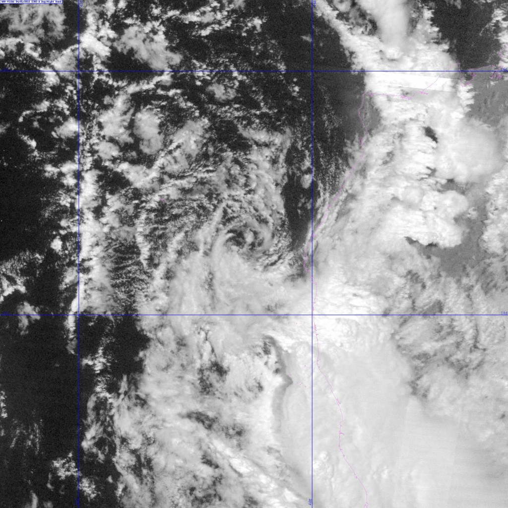 Zoomed-in image of Invest 97S from the VIIRS DNB taken at 23:02 UTC, 5 April 2012