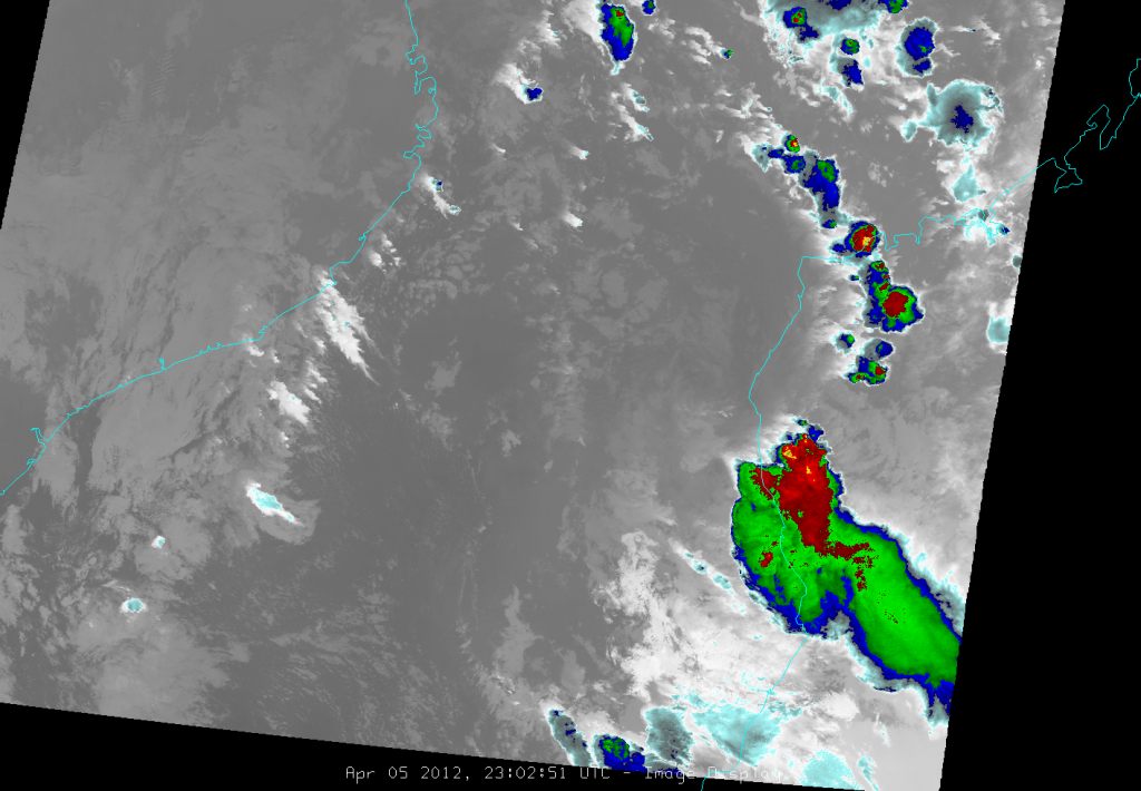 VIIRS channel I-5 image of Invest 97S, taken at 23:02 UTC, 5 April 2012