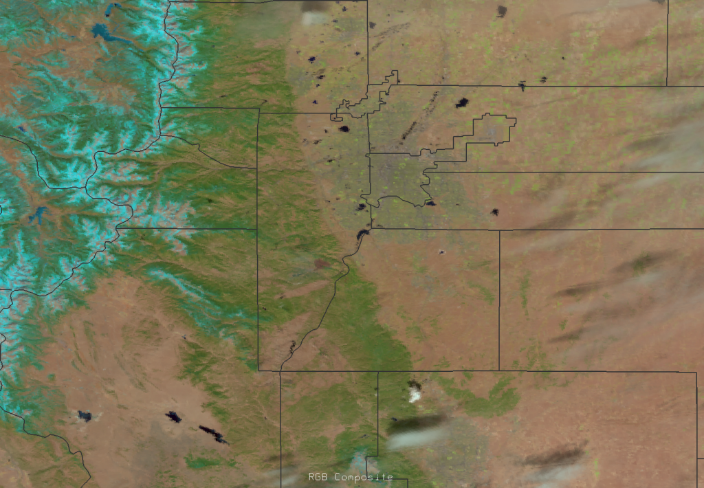 RGB composite of VIIRS channels I-1, I-2 and I-3 of the Lower North Fork fire, 20:06 UTC 27 March 2012