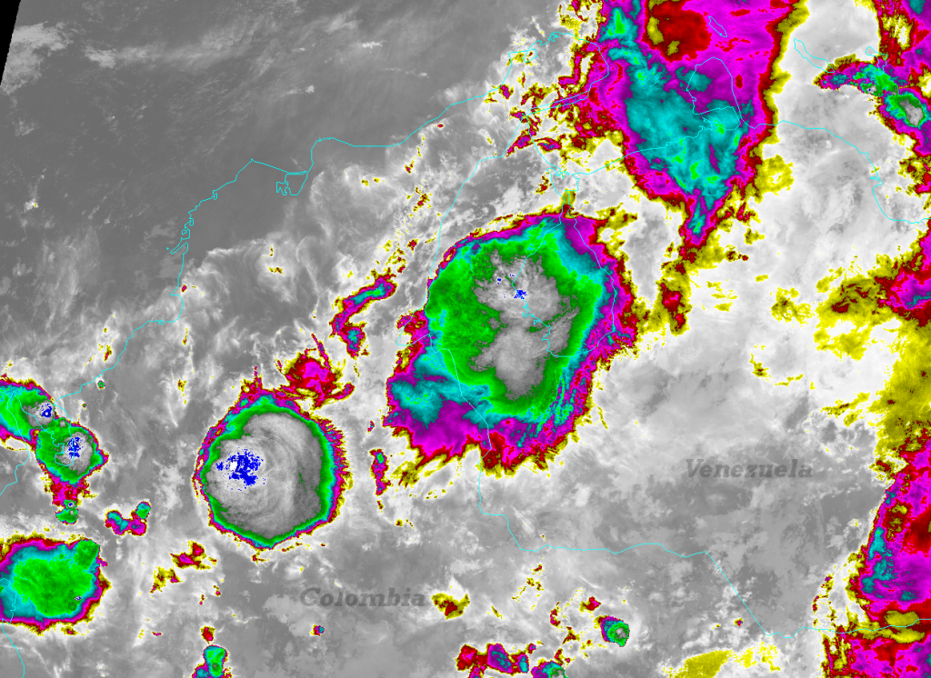 VIIRS I-05 image of thunderstorms near Lake Maracaibo, Venezuela taken 06:44 UTC 10 May 2012