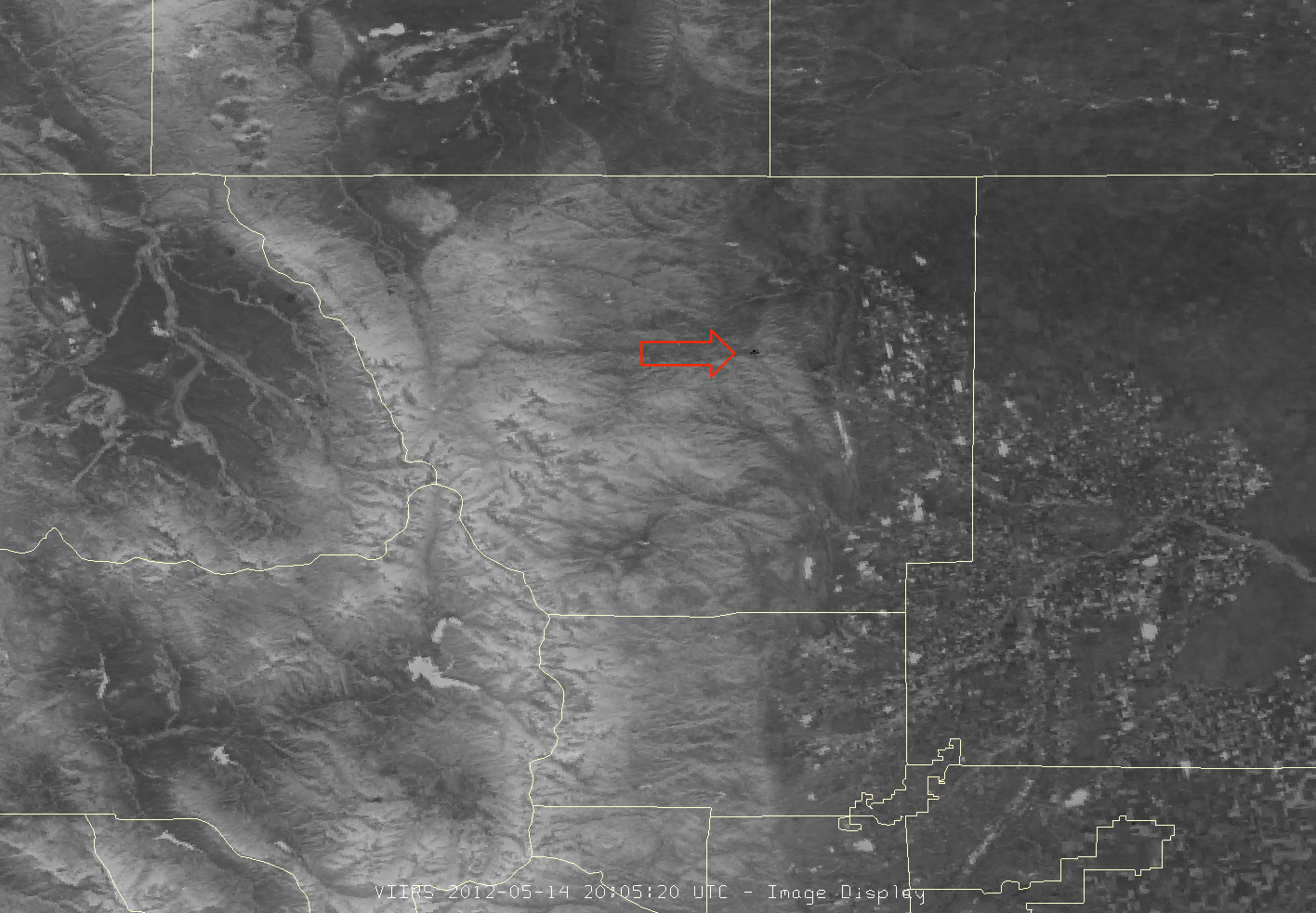 Image of the Hewlett Fire from VIIRS channel I-04, 20:05 UTC 14 May 2012