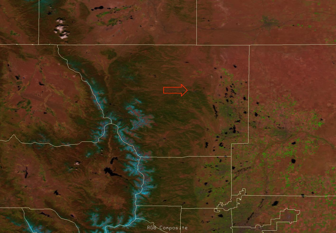 False color RGB composite of VIIRS channels I-01, I-02 and I-03, 20:05 UTC 14 May 2012