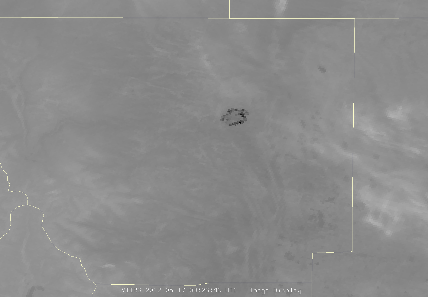 VIIRS channel I-04 image of the Hewlett Fire, 09:26 UTC 17 May 2012
