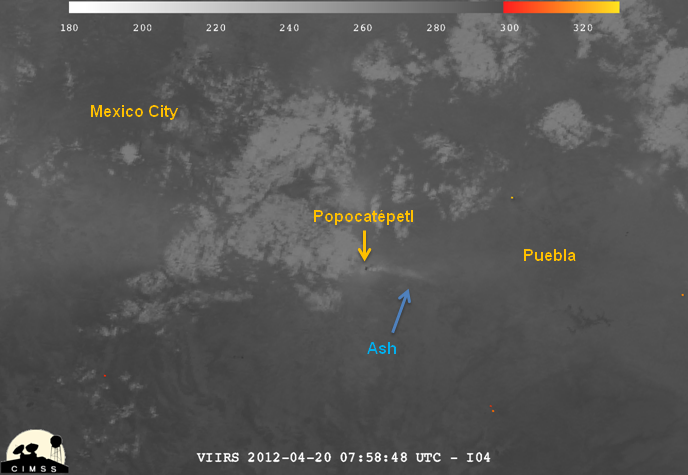 Image of Popocatépetl from VIIRS channel I-04, 07:58 UTC 20 April 2012