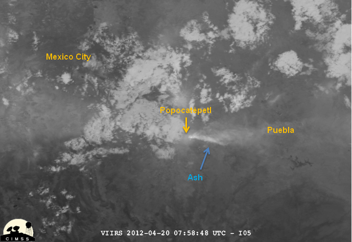 Image of Popocatépetl from VIIRS channel I-05, 07:58 UTC 20 April 2012