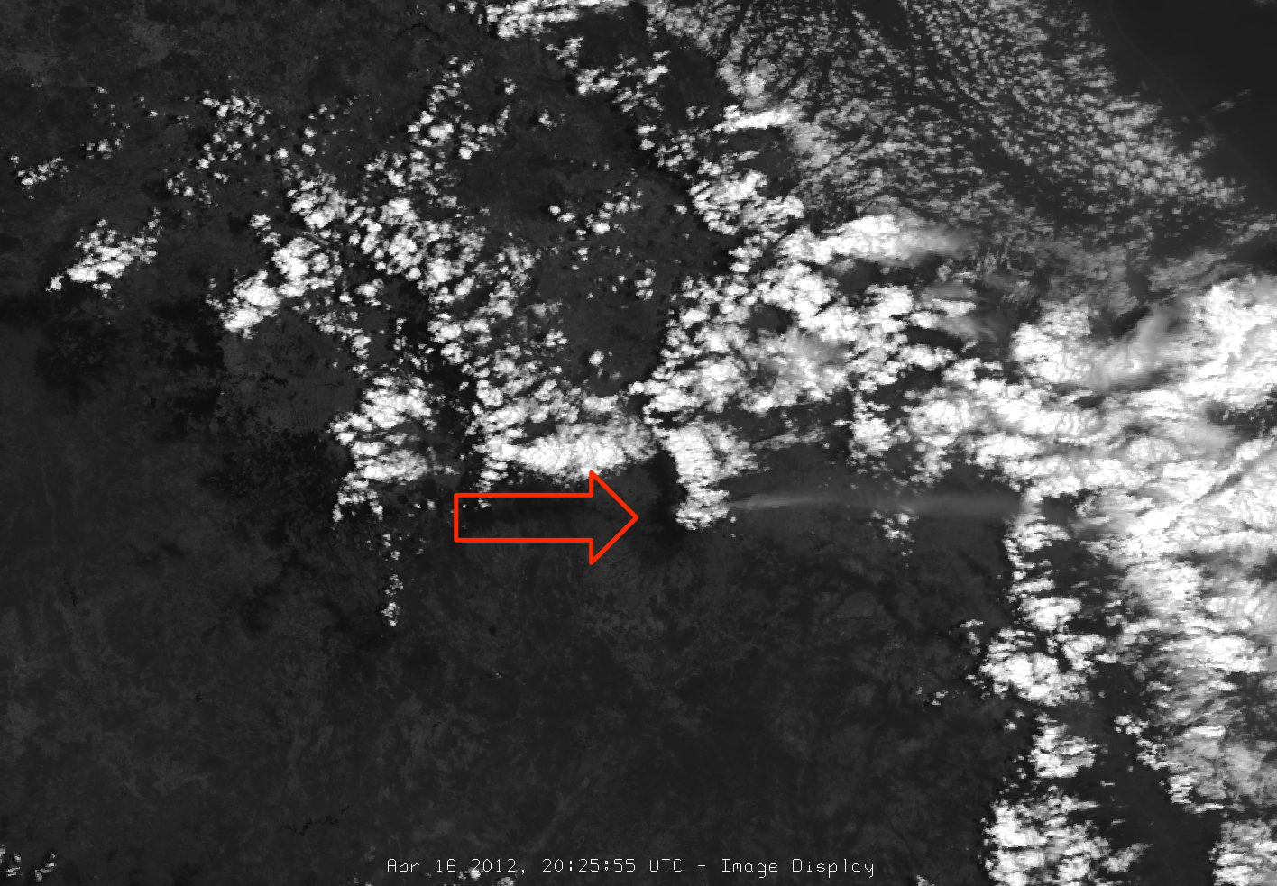 Image of Popocatépetl's ash plume from VIIRS channel I-01, 20:25 UTC 16 April 2012