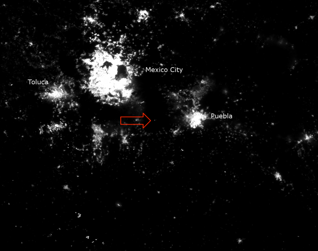 VIIRS Day/Night Band image of the Popocatépetl eruption from 07:58 UTC 20 April 2012