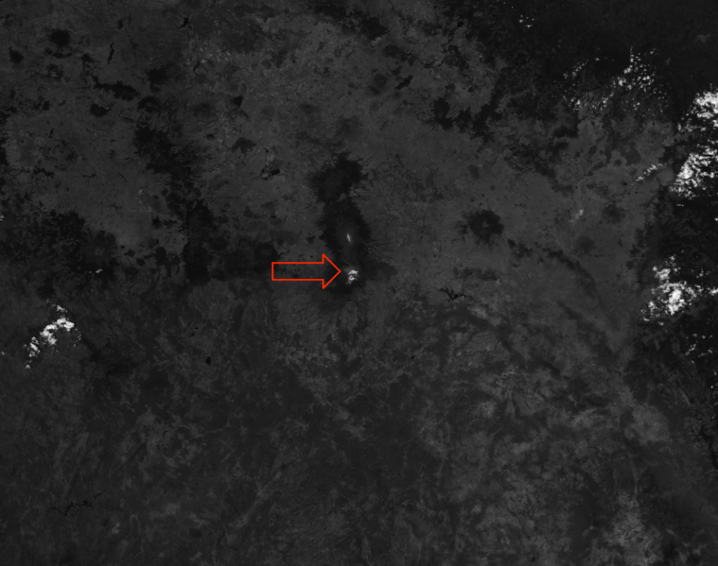 VIIRS I-01 image of Popocatépetl taken at 19:53 UTC 23 April 2012