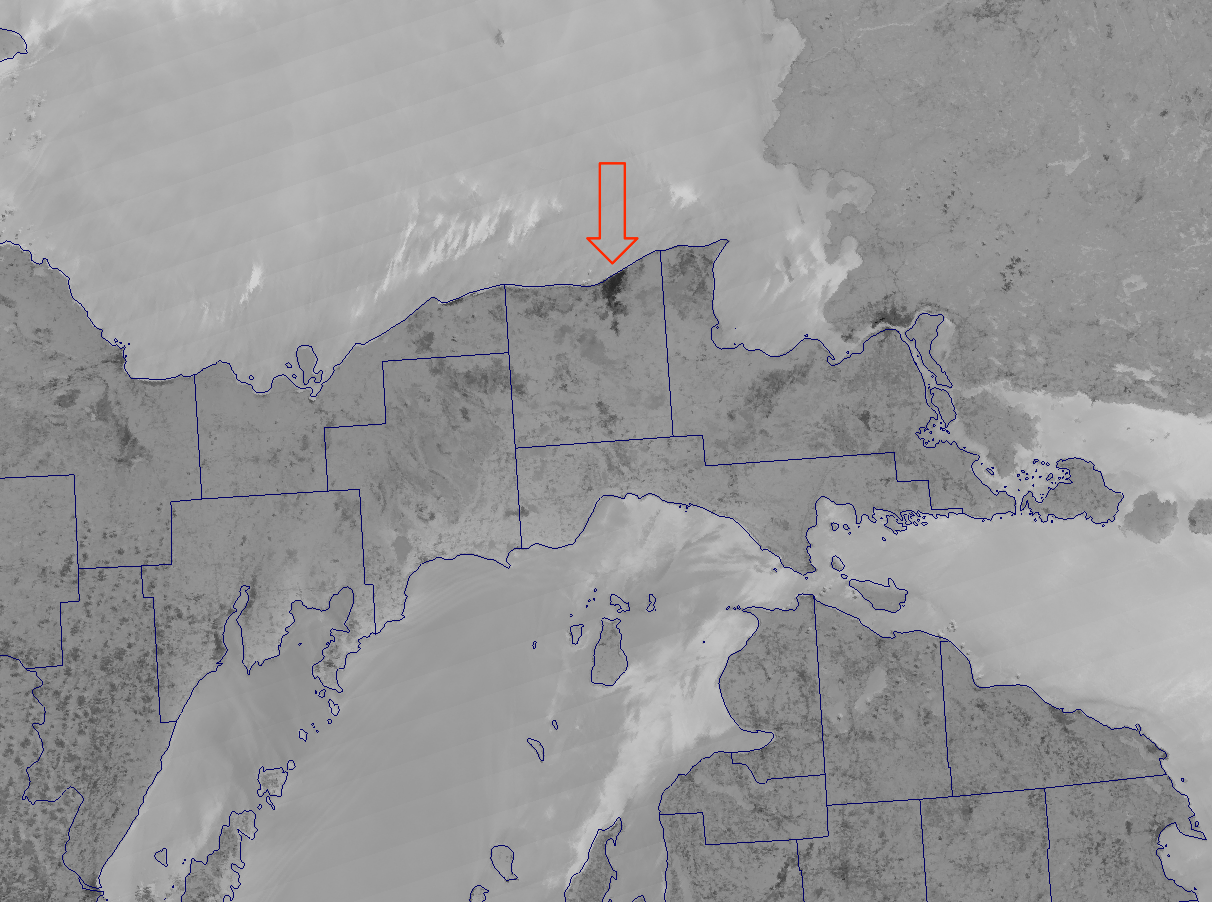Channel I-04 image of the Duck Lake Fire from VIIRS, taken 18:18 UTC 10 June 2012