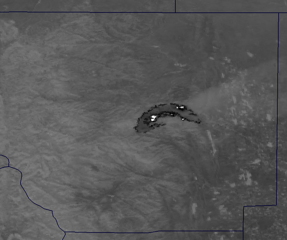 Channel I-04 image of the High Park Fire from VIIRS taken 19:59 UTC 10 June 2012