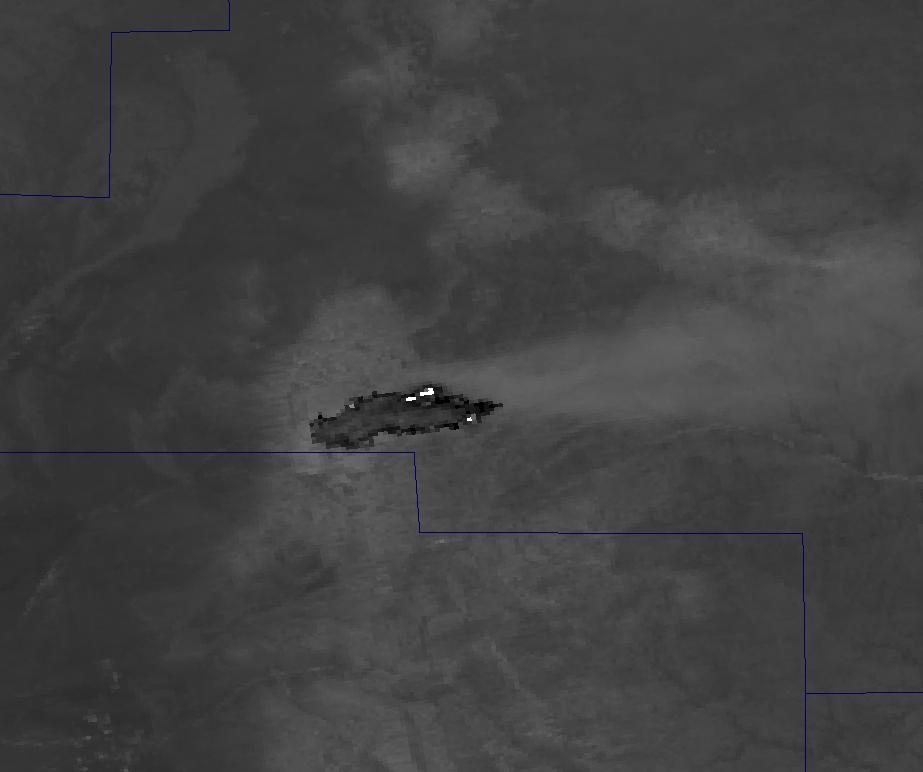Channel I-04 image of the Little Bear Fire from VIIRS taken 20:16 UTC 9 June 2012