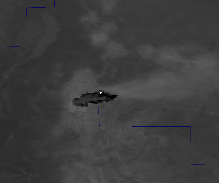 Channel M-12 image of the Little Bear Fire from VIIRS taken 20:16 UTC 9 June 2012