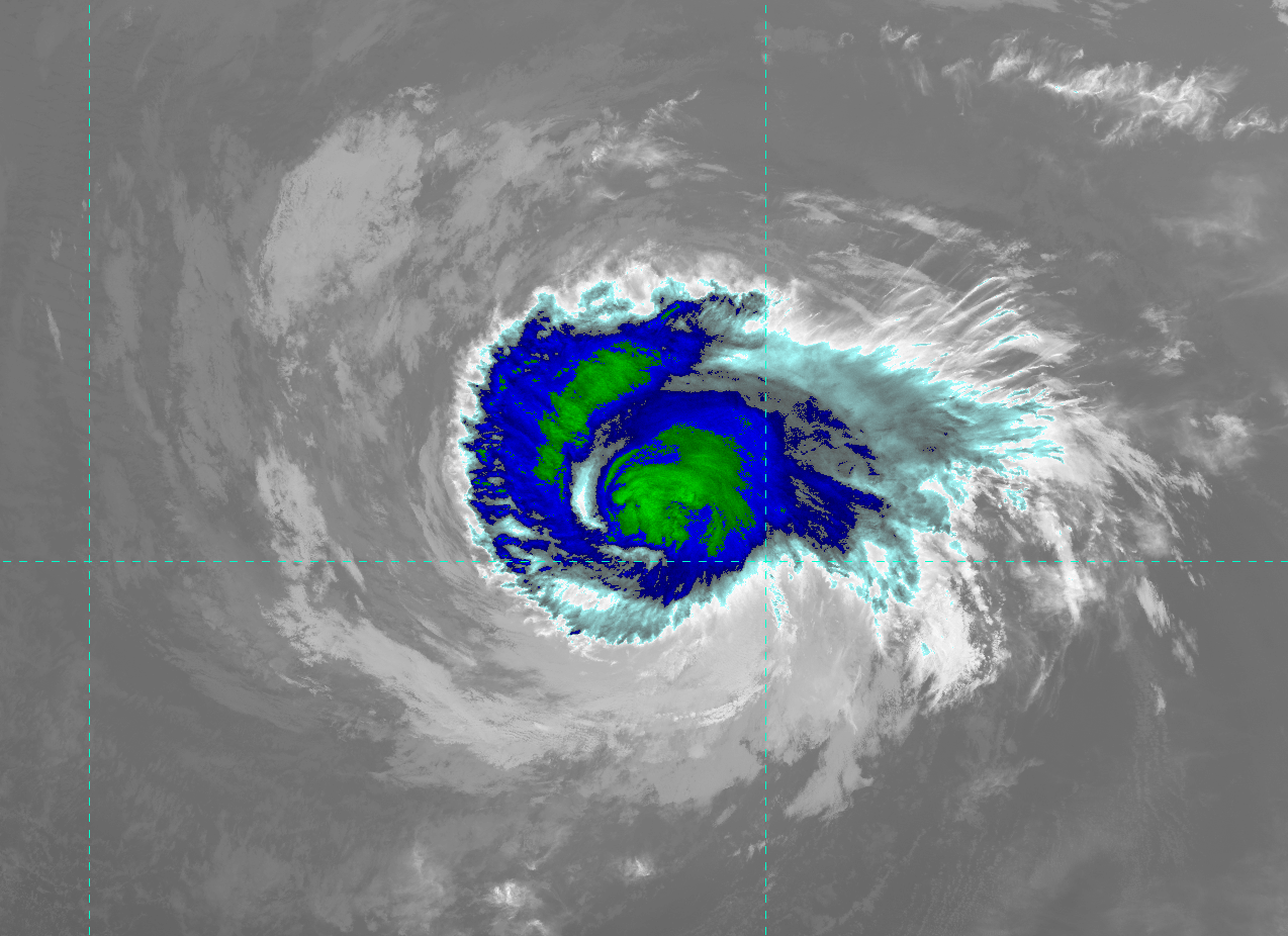 VIIRS IR image (channel I-05) of Hurricane Daniel, taken 22:29 UTC 9 July 2012
