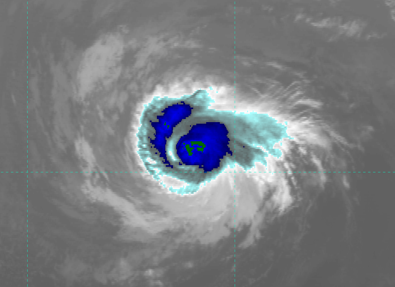 GOES-15 IR image (channel 4) of Hurricane Daniel, taken 22:30 UTC 9 July 2012