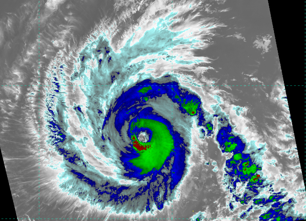 VIIRS IR image (channel I-05) of Hurricane Emilia, taken 20:48 UTC 9 July 2012